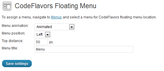 CodeFlavors Floating Menu settings