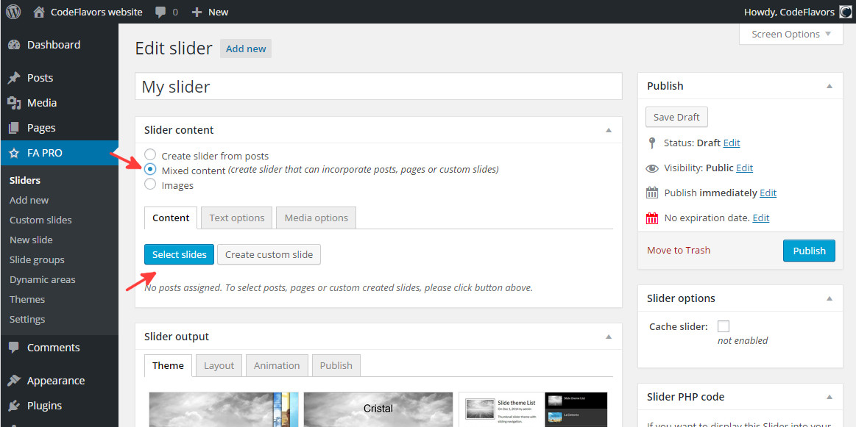 FA Pro WordPress slider manually select slider content
