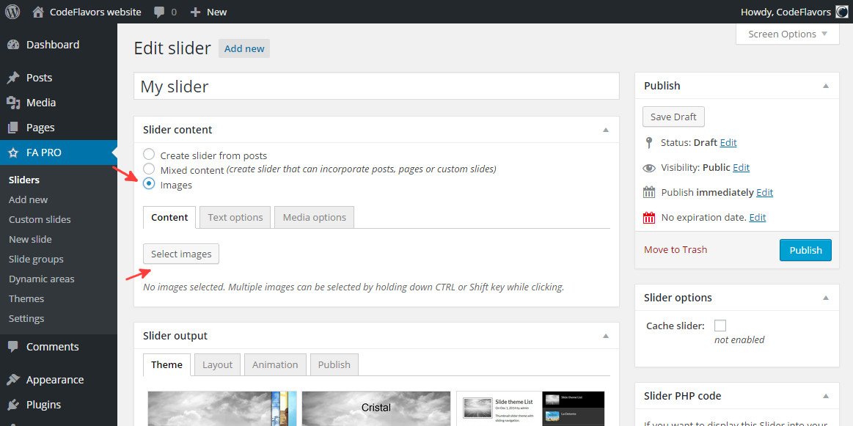 FA Pro WordPress slider select image slider content