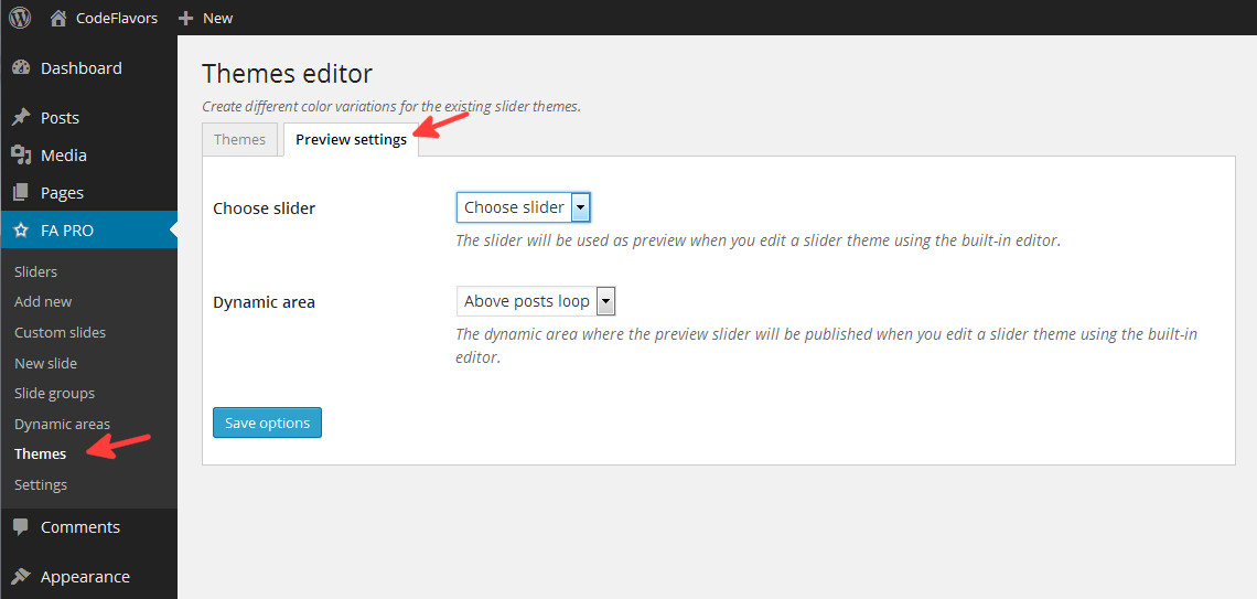 Featured Articles - slider themes preview options