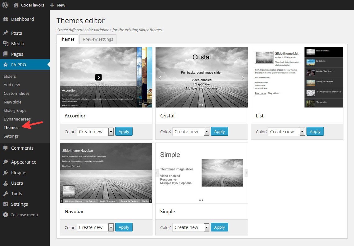 Featured Articles - slider themes editor