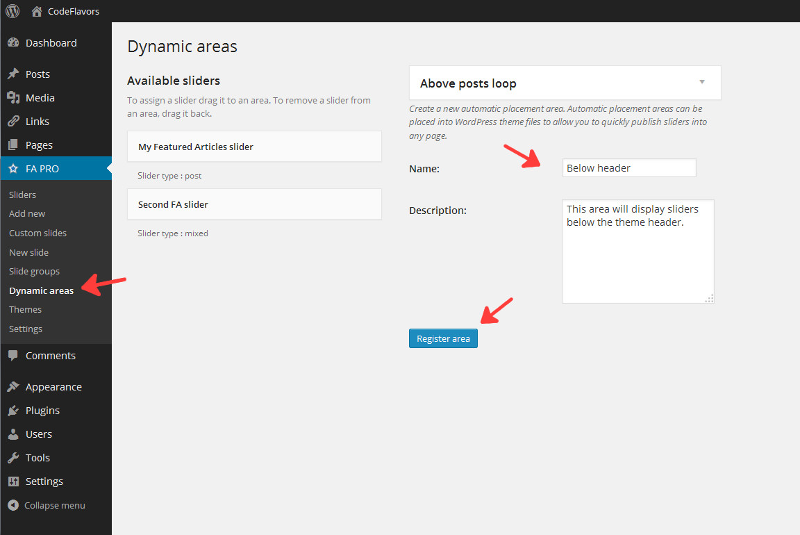 Featured Articles register dynamic area