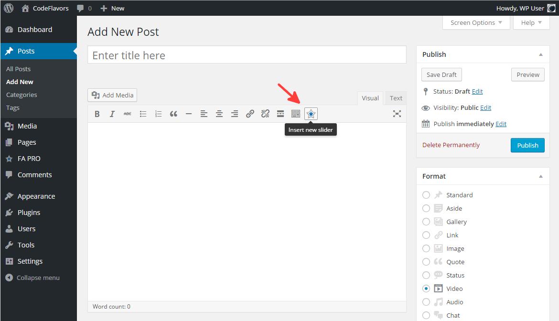 FA Pro shortcode editor icon