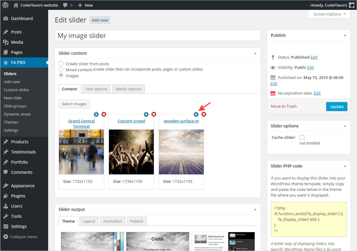 FA Pro WordPress image slider selected content