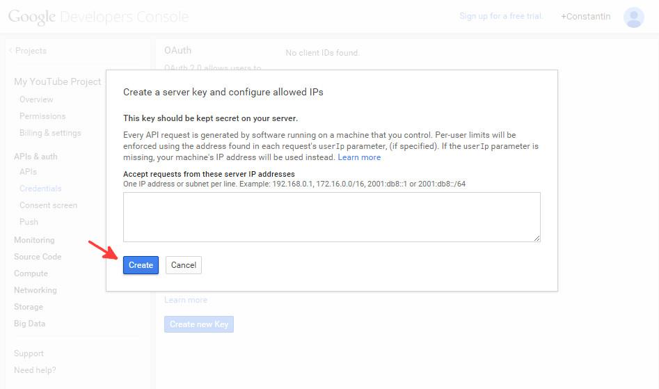 Google console API credentials step 3