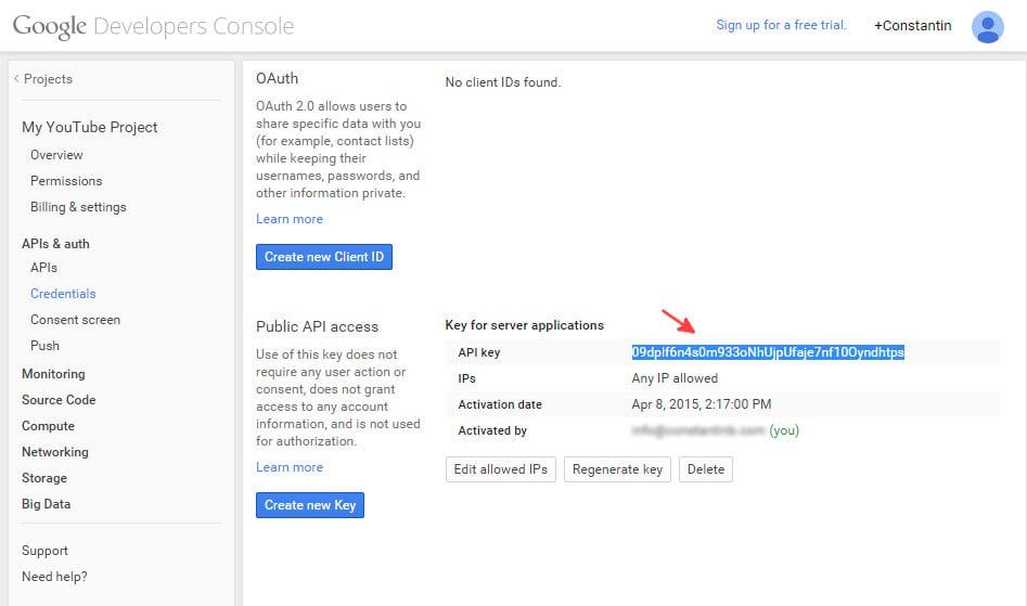 Google console API credentials step 4