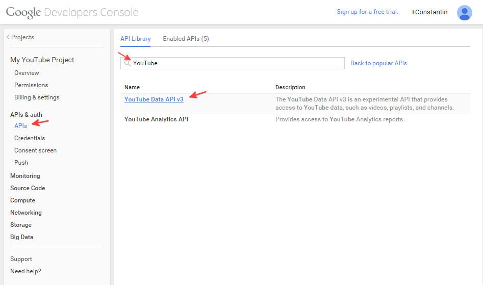 Google console enable YouTube API step 1