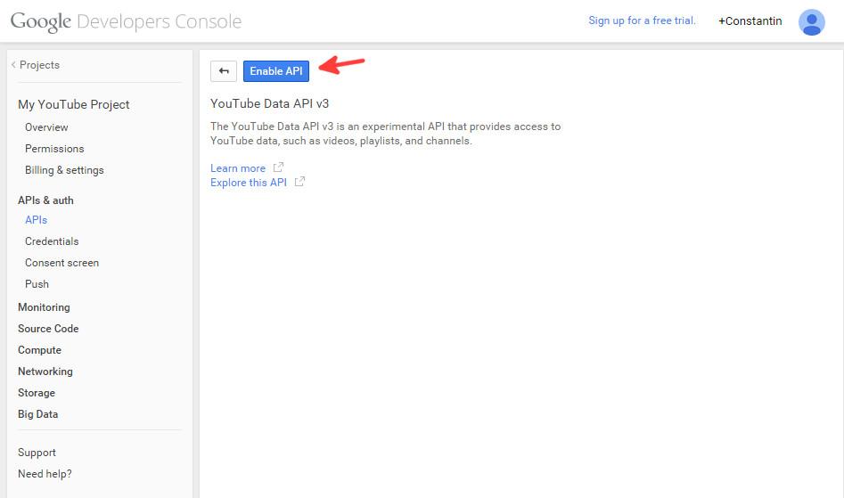 Google console enable YouTube API step 2