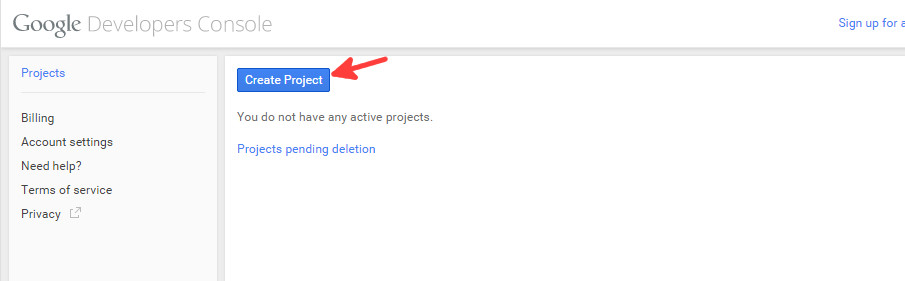 Google console new project step 1