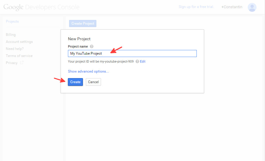 Google console new project step 2