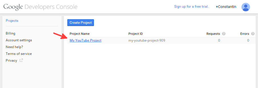 Google console new project step 3