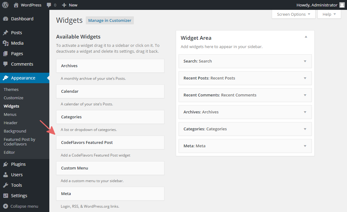 CodeFlavors Featured Post widget