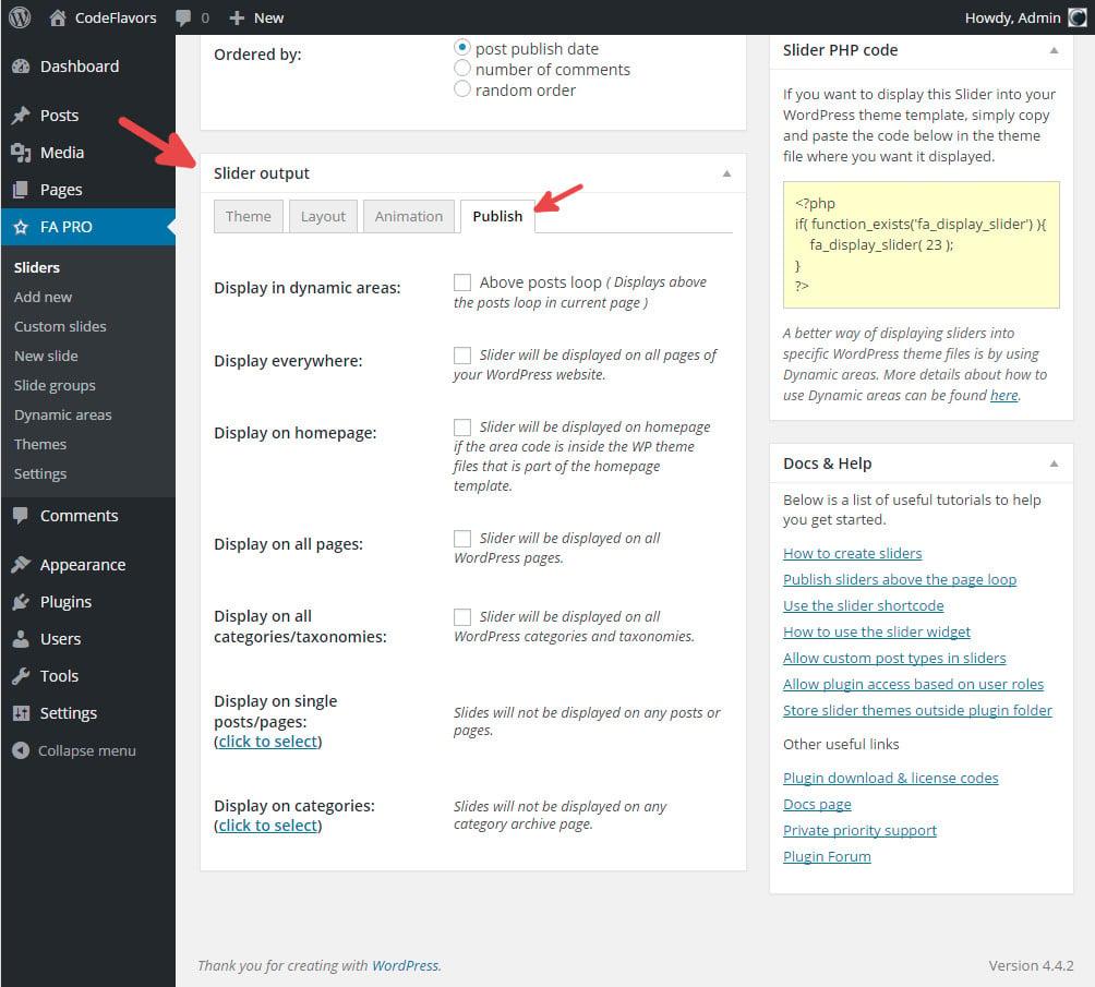 FA Pro - Publish WordPress slider dynamic areas