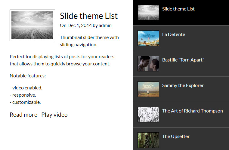 WordPress Slider Plugin - theme List